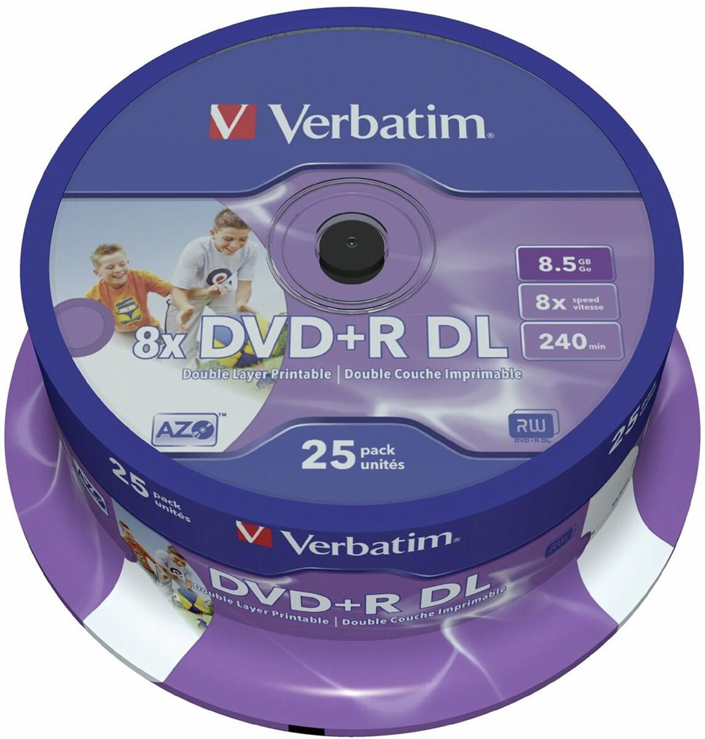verbatim dvd r dl 8 5gb 8x inkjet white 25er spindel dvd. Black Bedroom Furniture Sets. Home Design Ideas