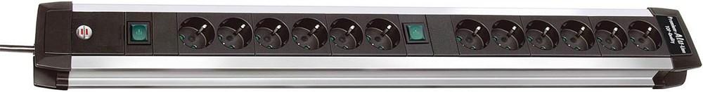 brennenstuhl 1391000012 Premium-Alu-Line Technik Steckdosenleiste 12-fach 3m