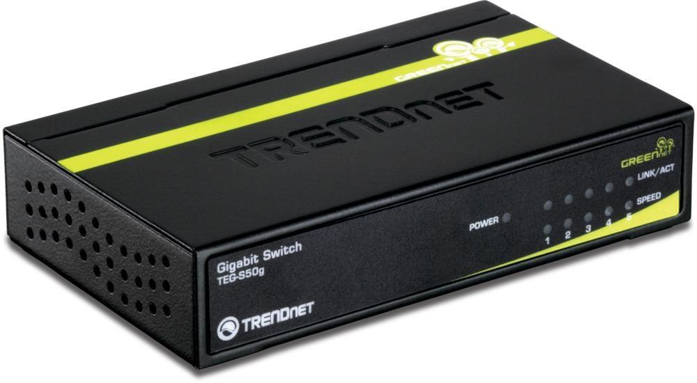 TRENDnet TEG S50G - Switch 5 Anschlüsse Ethernet, Fast Gigabit Ethernet 10Base-T, 100Base-TX, 1000Base-T extern (TEG-S50G) - broschei