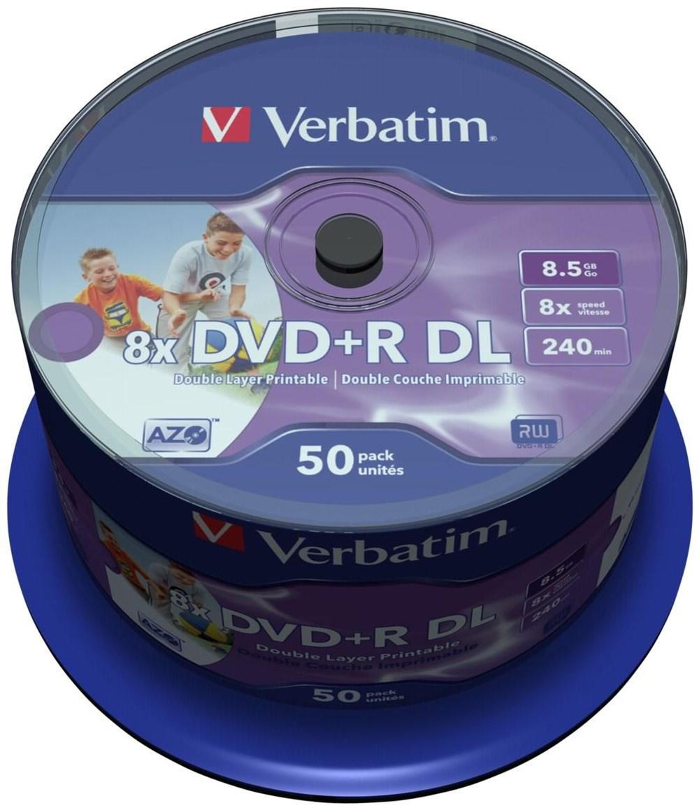 Verbatim DVD+R DL 8.5GB Inkjet white 50er Spindel