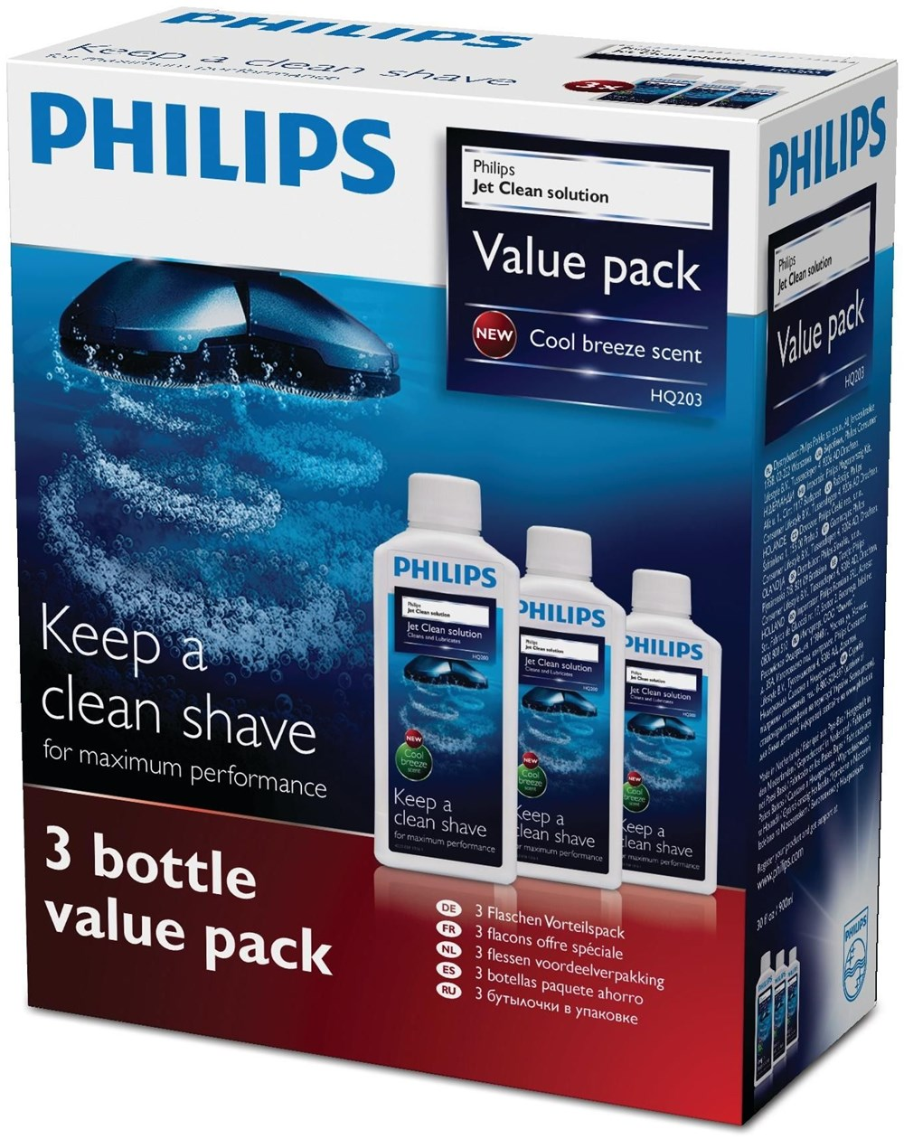 Philips HQ203/50 Jet Clean Scherkopfreiniger 3er Pack 900ml
