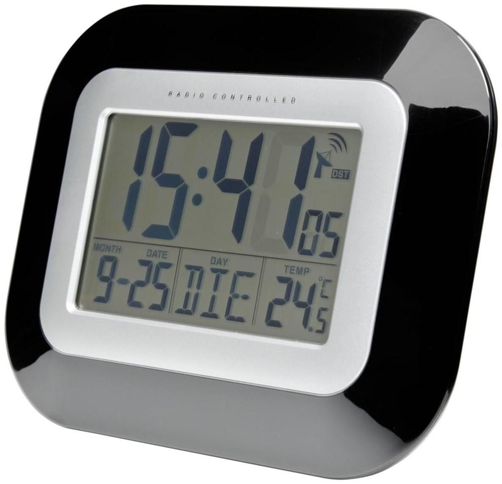 tfa funk wanduhr schwarz silber clocks alarm. Black Bedroom Furniture Sets. Home Design Ideas
