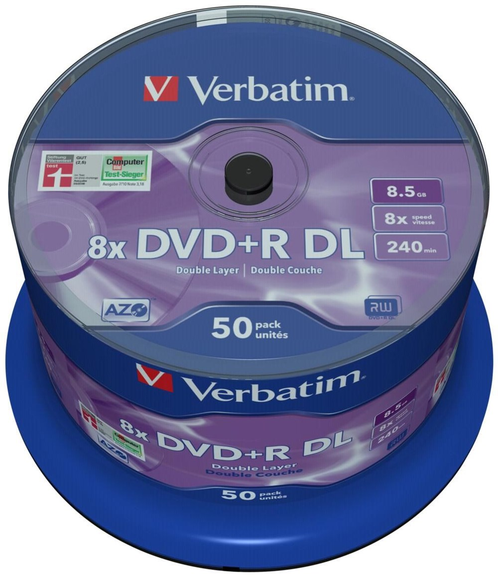 verbatim dvd r dl 8 5gb 8x 50er spindel dvd blank discs. Black Bedroom Furniture Sets. Home Design Ideas