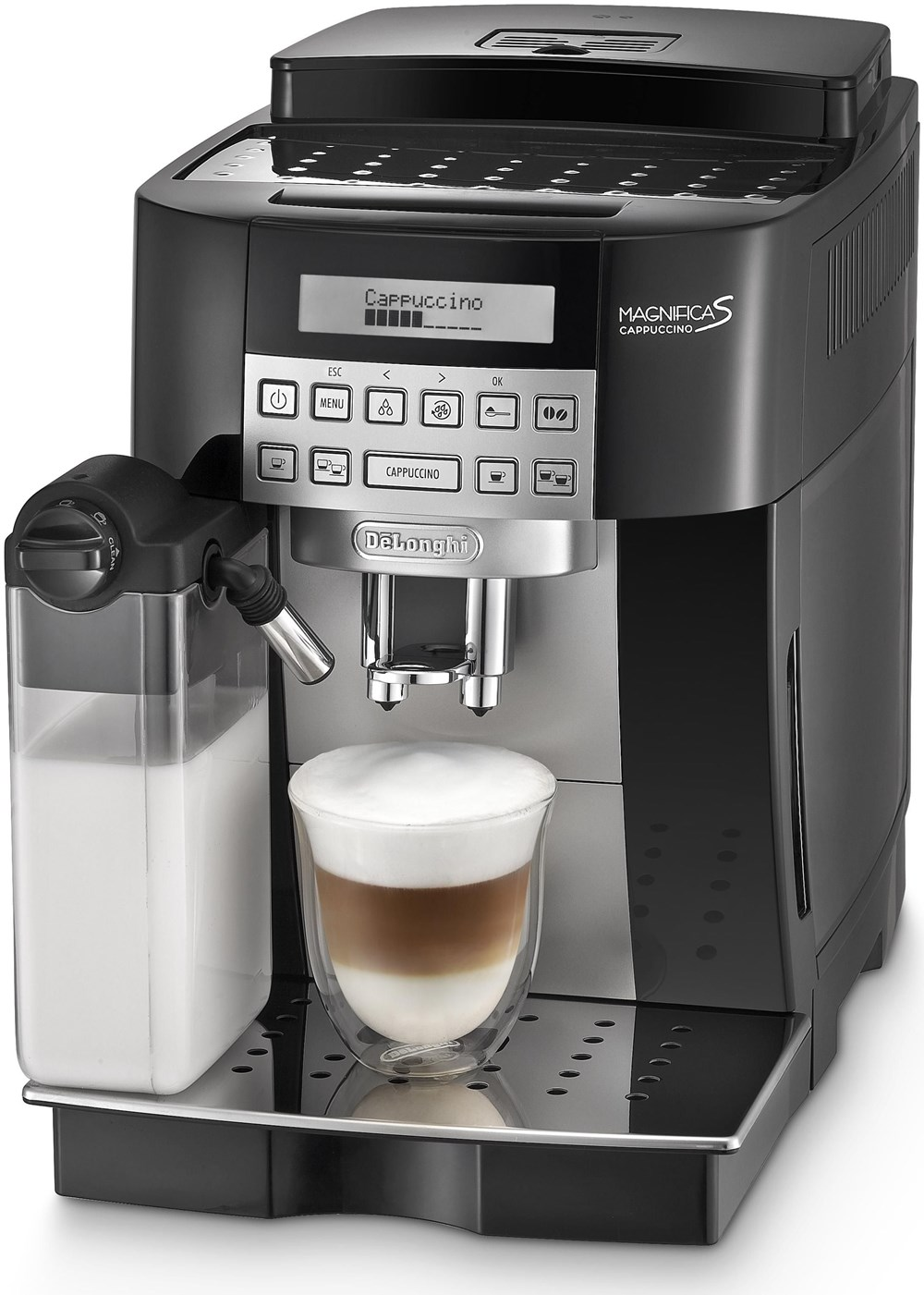 delonghi magnifica s cappuccino ecam schwarz bean to cup coffee machines. Black Bedroom Furniture Sets. Home Design Ideas