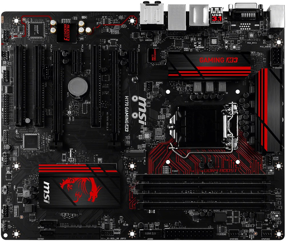 msi h170 gaming m3 mainboards computeruniverse. Black Bedroom Furniture Sets. Home Design Ideas