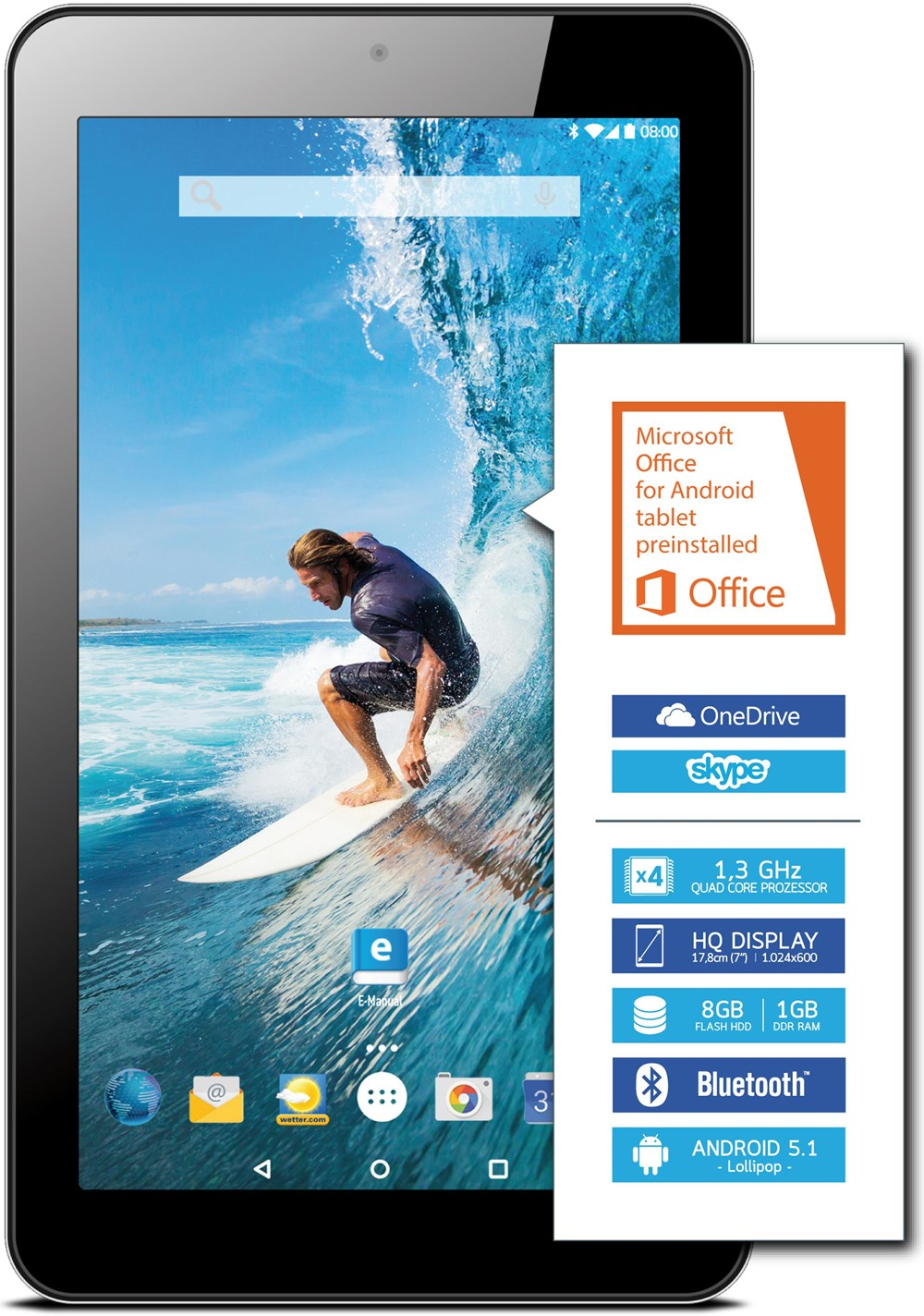 Odys Vito 7 Tablet WiFi 8GB Android 5.1 schwarz