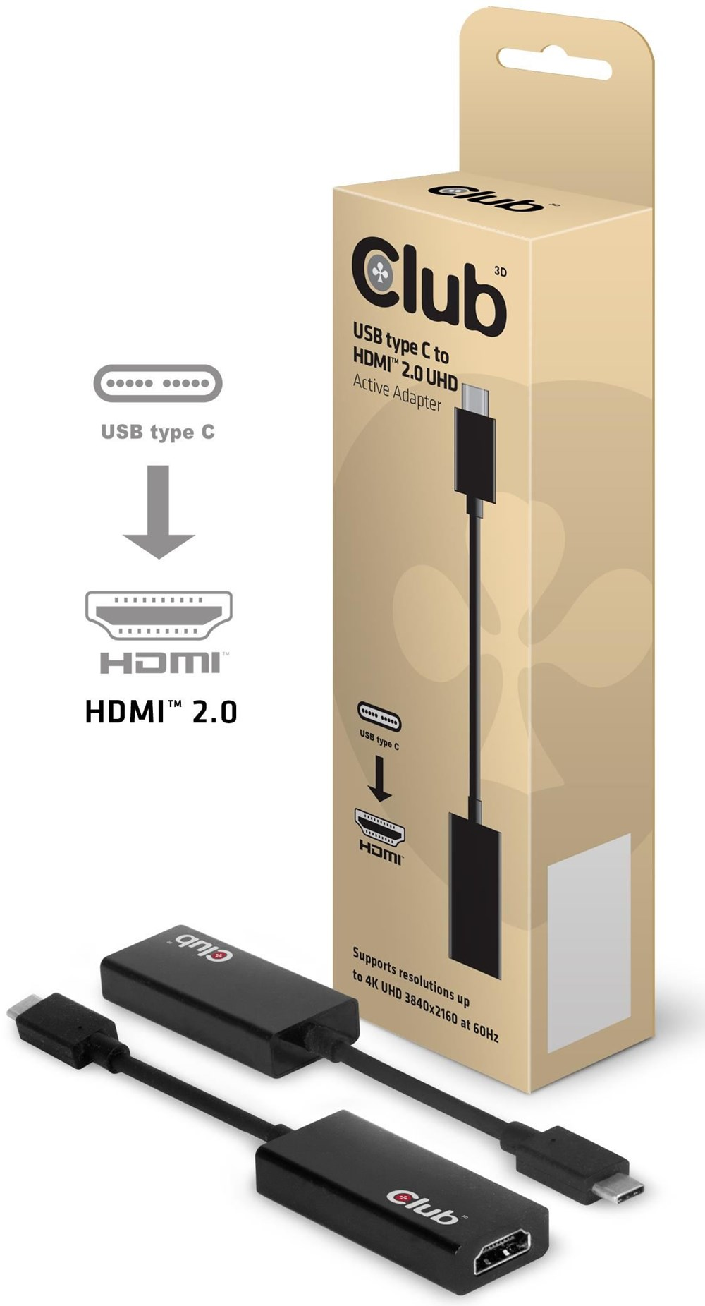 Club3D CAC-1504 USB 3.1 Typ C auf HDMI 2.0 4K60Hz UHD Aktiv USB3.1-C Stecker auf HDMI Buchse 0.15m schwarz