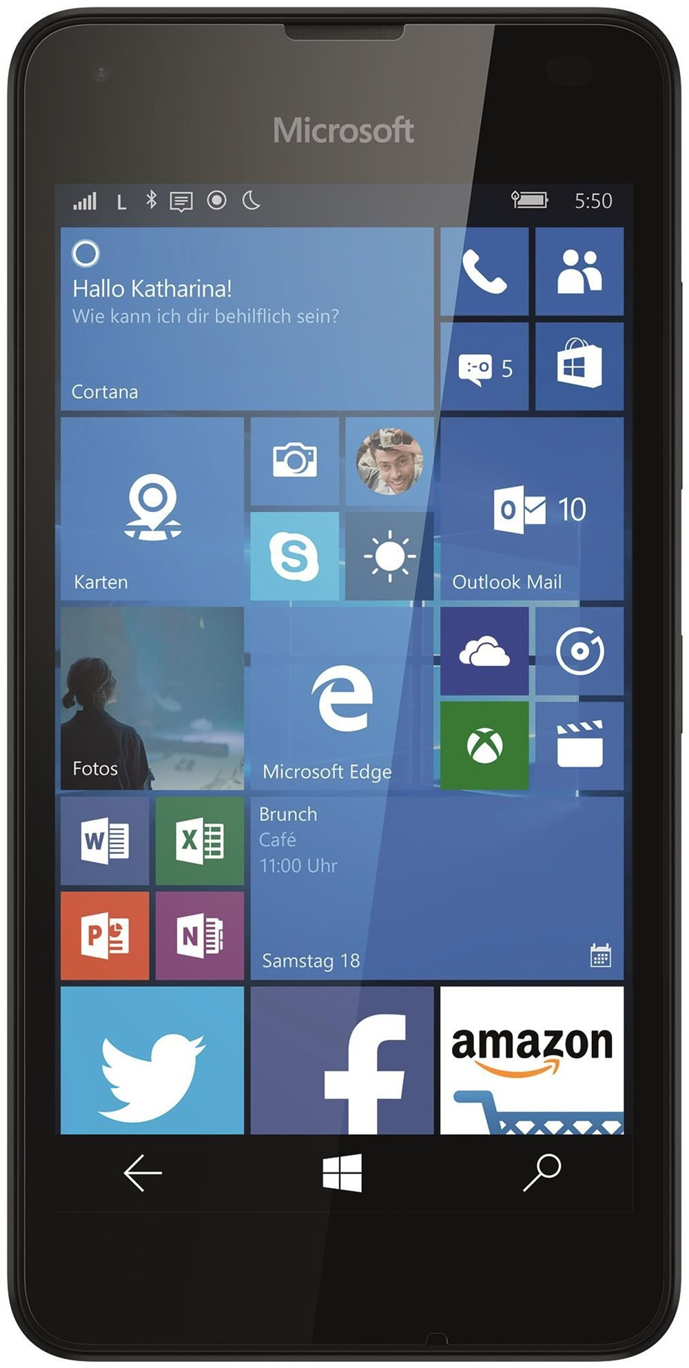 Lumia 550 8 GB Smartphone ohne Vertrag/SIMlock, schwarz (Handy)