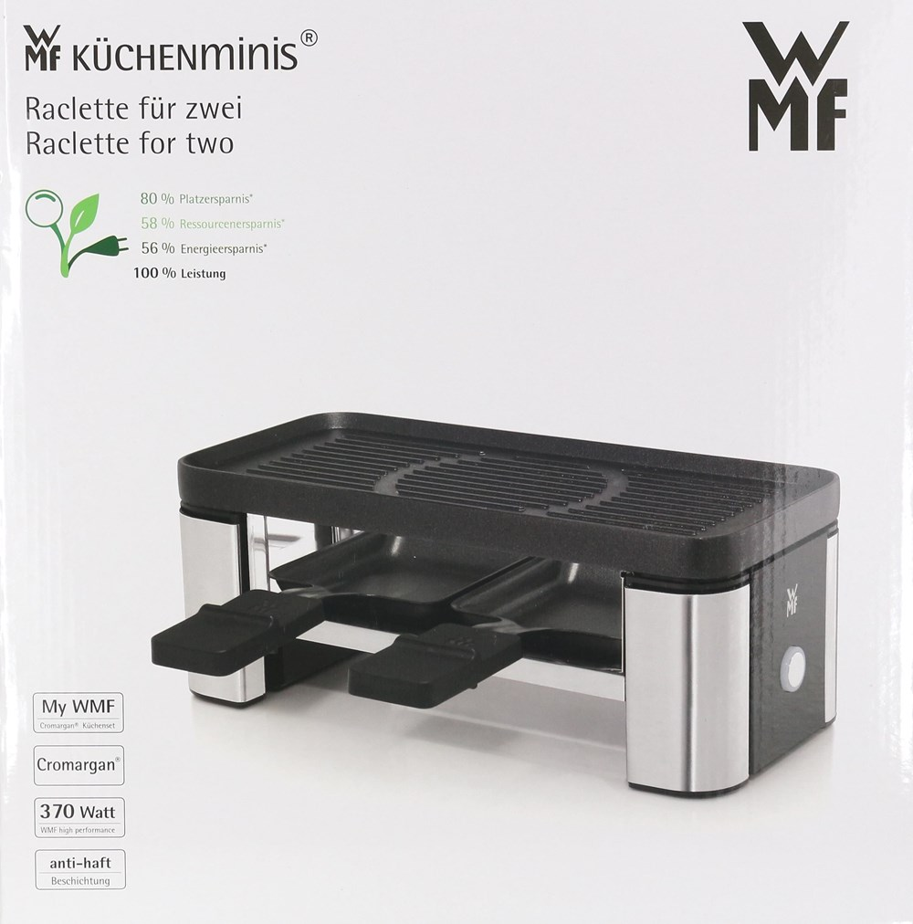 wmf 415100011 k chenminis raclette f r zwei raclettes fondues computeruniverse. Black Bedroom Furniture Sets. Home Design Ideas