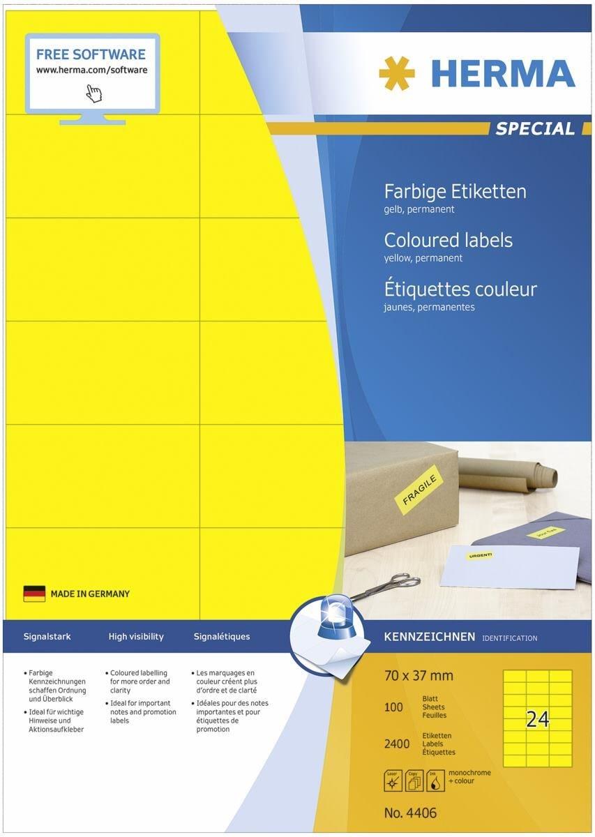 HERMA 4406 farbige Etiketten 70x37 100 Blatt DIN A4 2400 Stück gelb - Preisvergleich