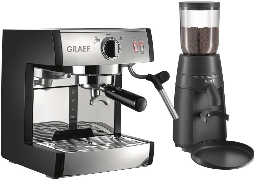Graef Pivalla SET mit Kaffeemühle ES 702 EU Siebträger-Espressomaschine