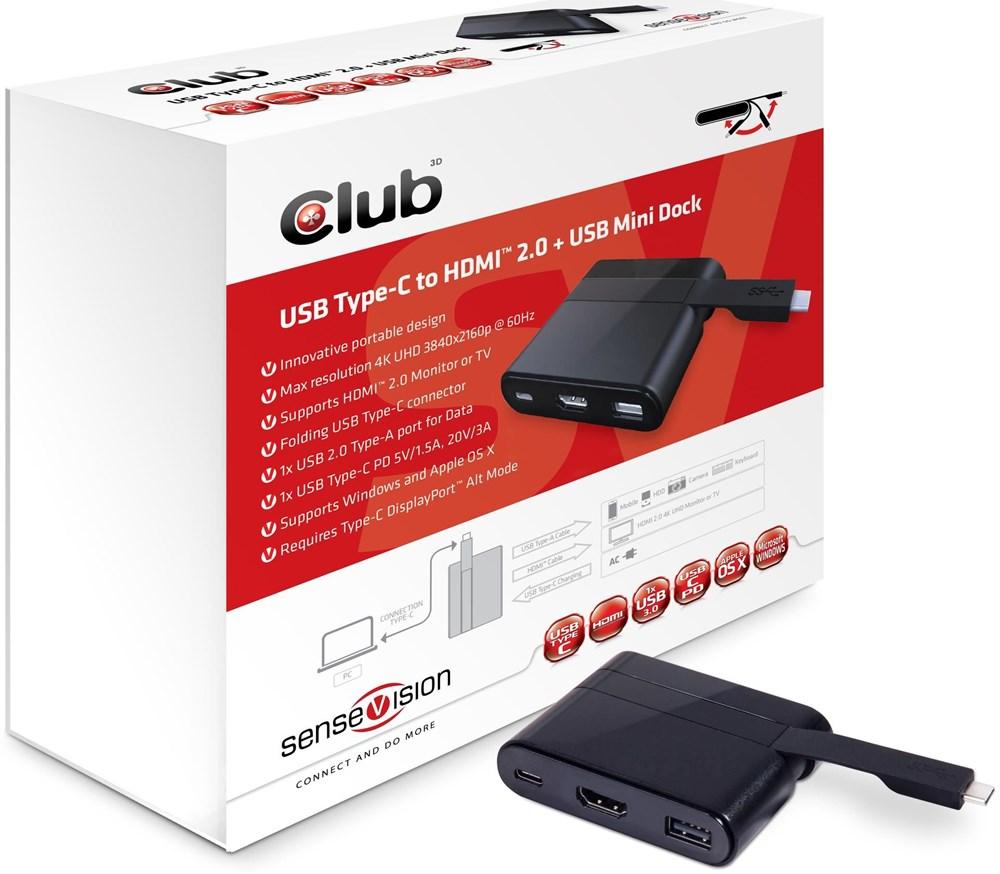 Club3D CSV-1534 USB 3.1 Type-C auf HDMI 2.0 + USB Mini Dock USB 3.1 Typ C / HDMI 2.0/USB/USB-C (MiniDock)