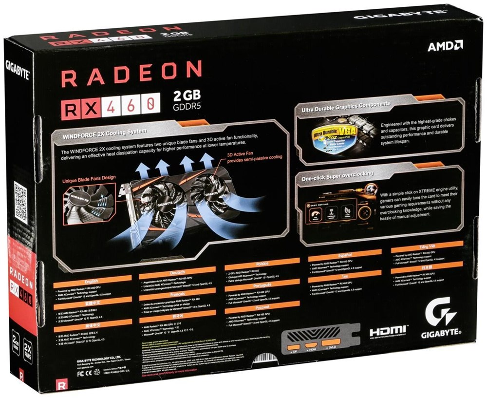 gigabyte radeon rx 460 gv rx460wf2oc 2gd 2gb gddr5 pci. Black Bedroom Furniture Sets. Home Design Ideas