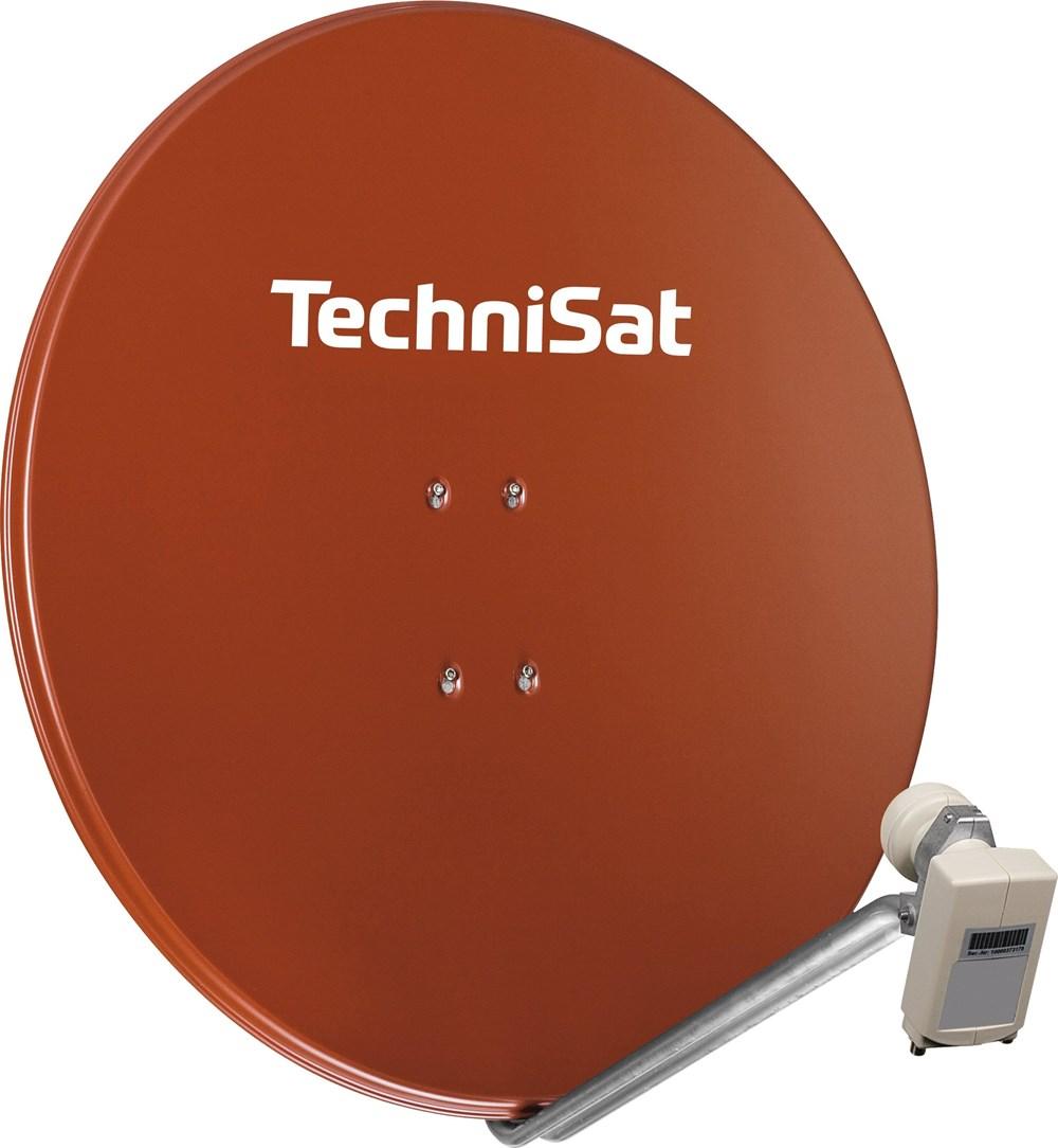 TechniSat Satman 850 mit Adapter und 40mm Twin-LNB rot - broschei