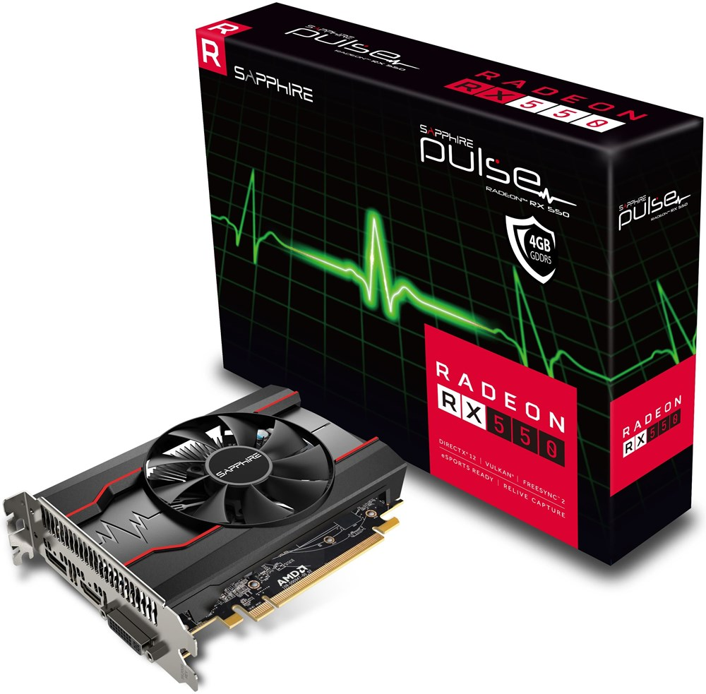 sapphire radeon rx 550 pulse 4gb pci express graphics. Black Bedroom Furniture Sets. Home Design Ideas