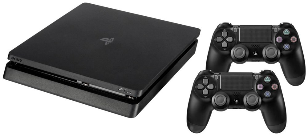 sony playstation 4 slim 500gb schwarz inkl 2 dualshock 4. Black Bedroom Furniture Sets. Home Design Ideas