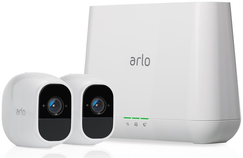 netgear arlo pro 2 sicherheitssystem mit 2 wire free hd kameras netzwerkkameras computeruniverse. Black Bedroom Furniture Sets. Home Design Ideas