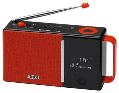 aeg dab 4158 dab radio mit akku netzteil rot radios und radiowecker computeruniverse. Black Bedroom Furniture Sets. Home Design Ideas