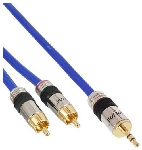 inline 89935p cinch klinke kabel premium 2x cinch stecker auf 3 5mm klinke stecker 5m blau. Black Bedroom Furniture Sets. Home Design Ideas