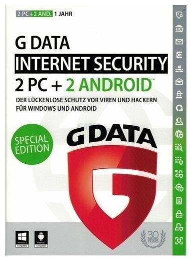 G Data InternetSecurity 2plus2 Sonderversion 1 Jahr für 2 PCs + 2 Android-Geräte Win/Android CD-ROM 4018931725523