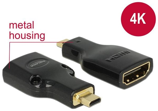 DeLOCK 65664 Adapter HDMI Micro-D auf HDMI-A mit Ethernet HDMI Micro-D St. auf HDMI-A Buchse schwarz