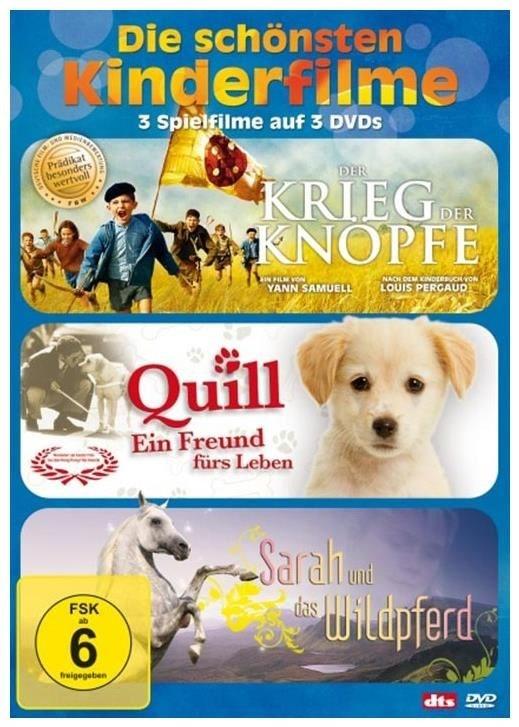 Die schönsten Kinderfilme: Der Krieg der Knöpfe / Quill - ein Freund fürs Leben / Sarah und das Wildpferd (DVD)
