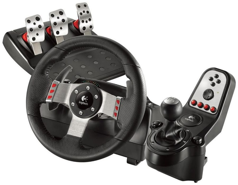logitech g27 racing wheel usb pc ps3 ps2 lenkrad pedale. Black Bedroom Furniture Sets. Home Design Ideas
