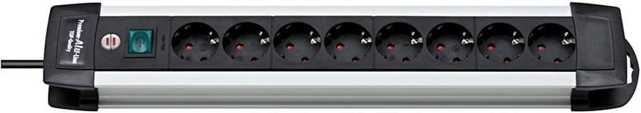 brennenstuhl 1391000018 Premium-Alu-Line 8-fach Steckdosenleiste 3.0 mtr. lang