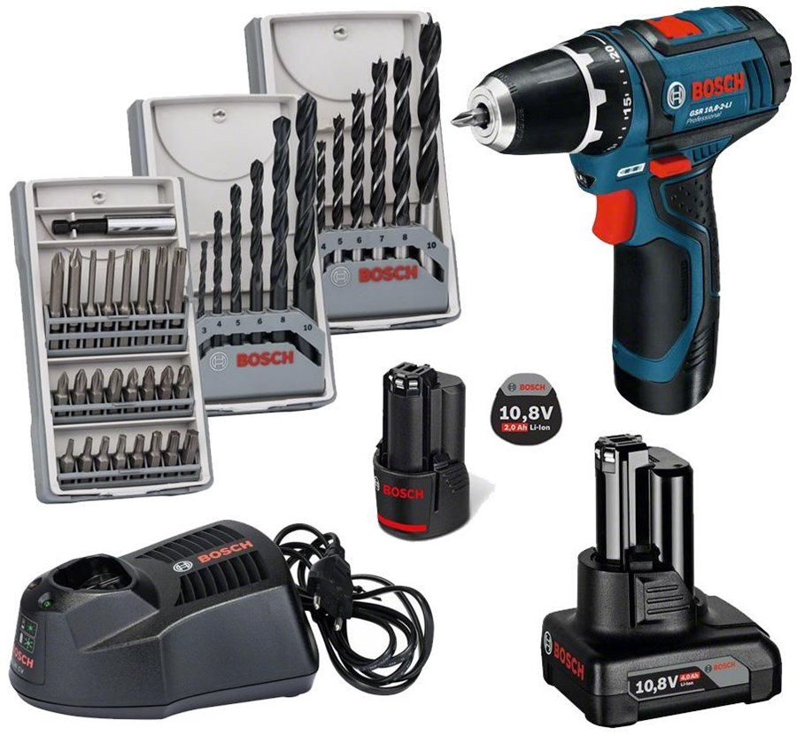 bosch gsr 10 8 2 li set 1x 4ah akku 1x 2ah akku tasche 39 tlg zubeh r set cordless drills. Black Bedroom Furniture Sets. Home Design Ideas